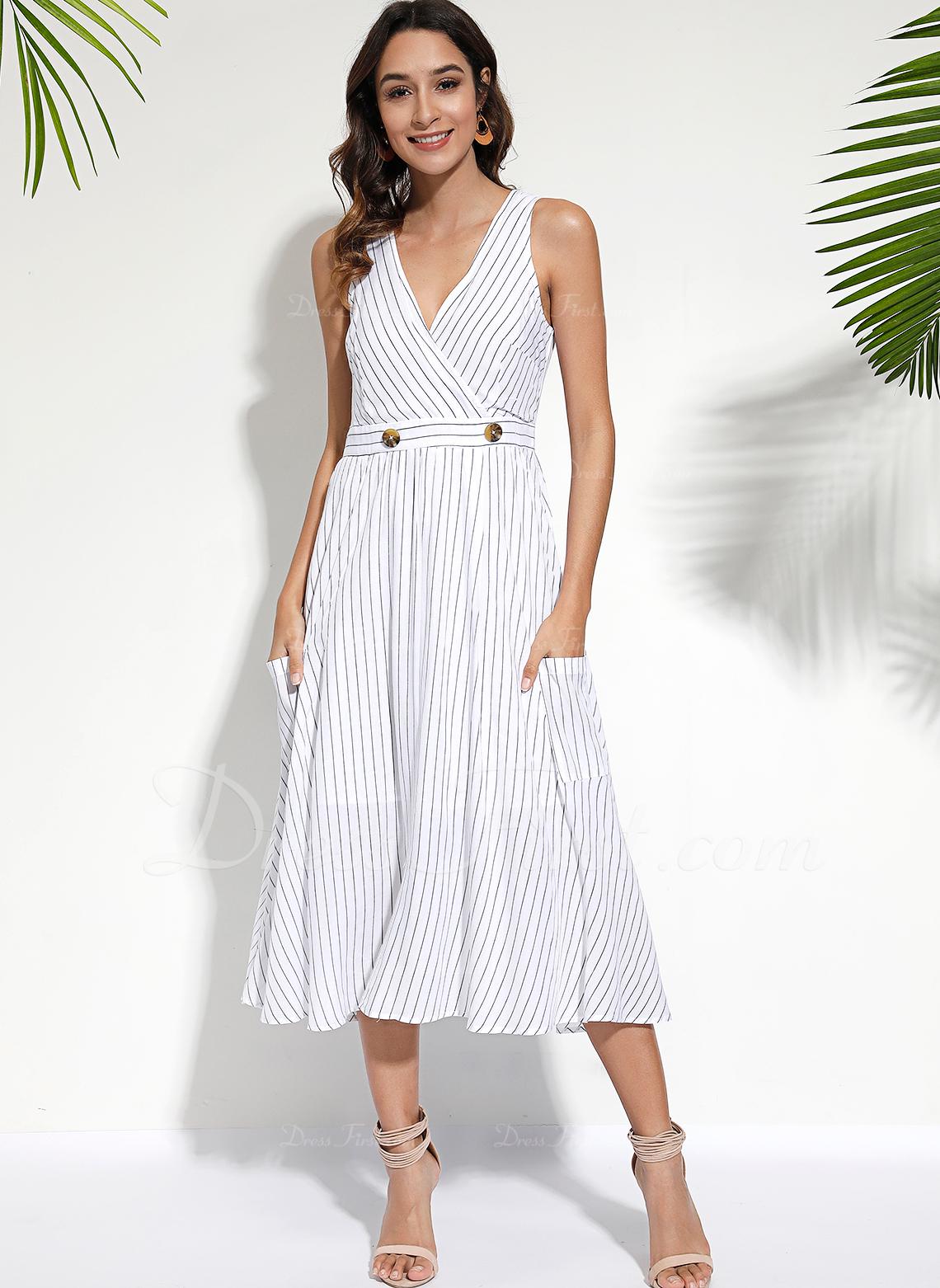 Midi Escote en V poliéster Arruga Sin mangas Vestidos de moda