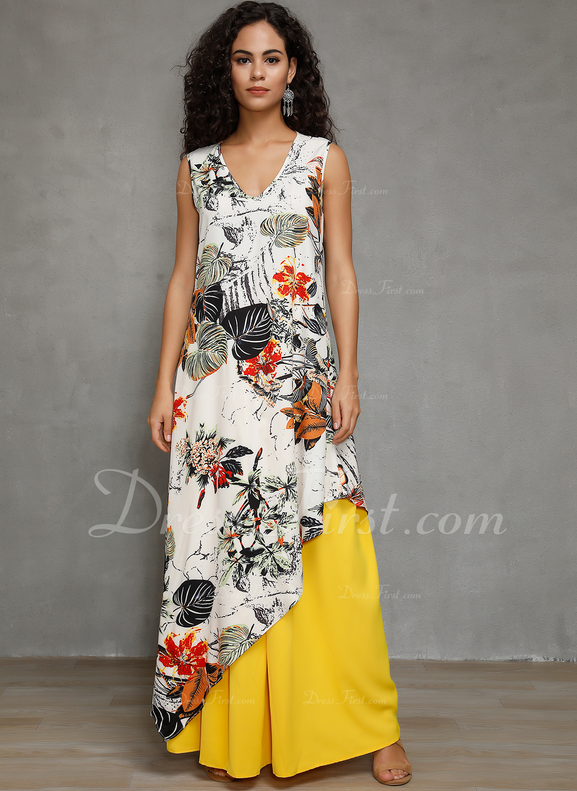 mezcla de algodón con Impresión Maxi Vestido