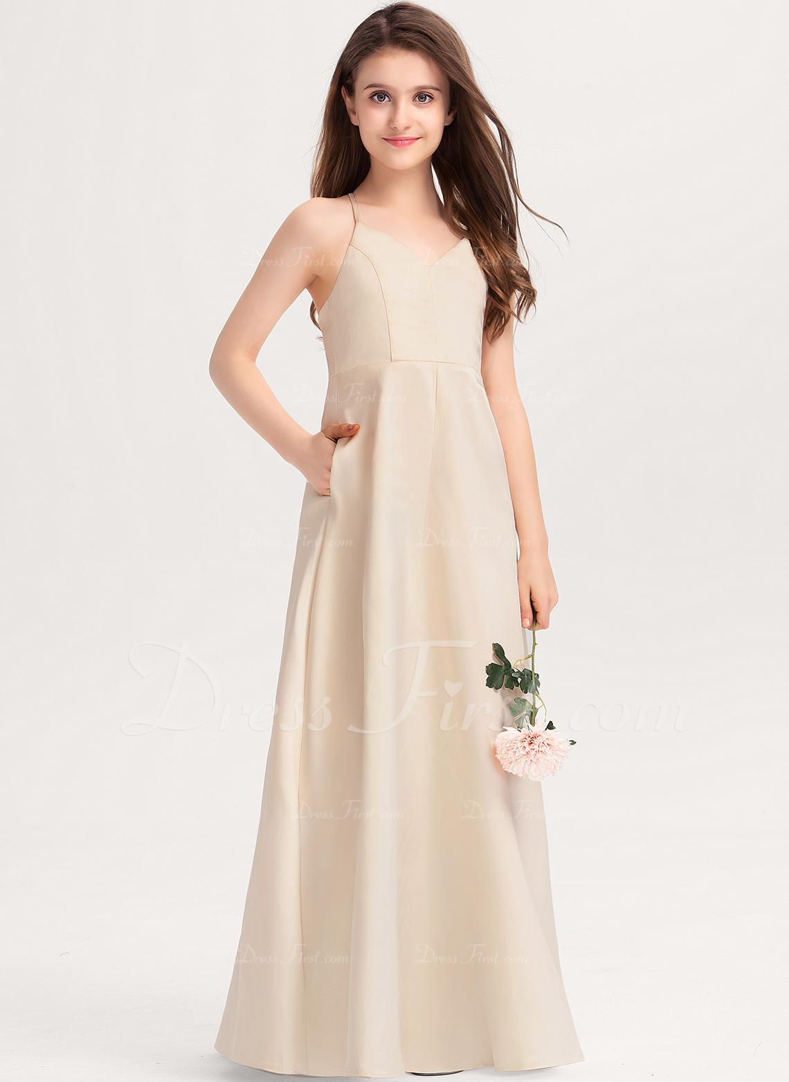A-Line V-neck Floor-Length Satin Junior Bridesmaid Dress With Pockets
