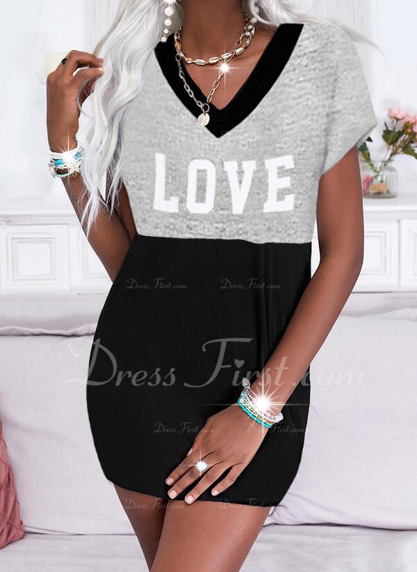 Trozos de color Impresión Carta Vestidos sueltos Manga Corta Mini Casual camiseta Vestidos de moda