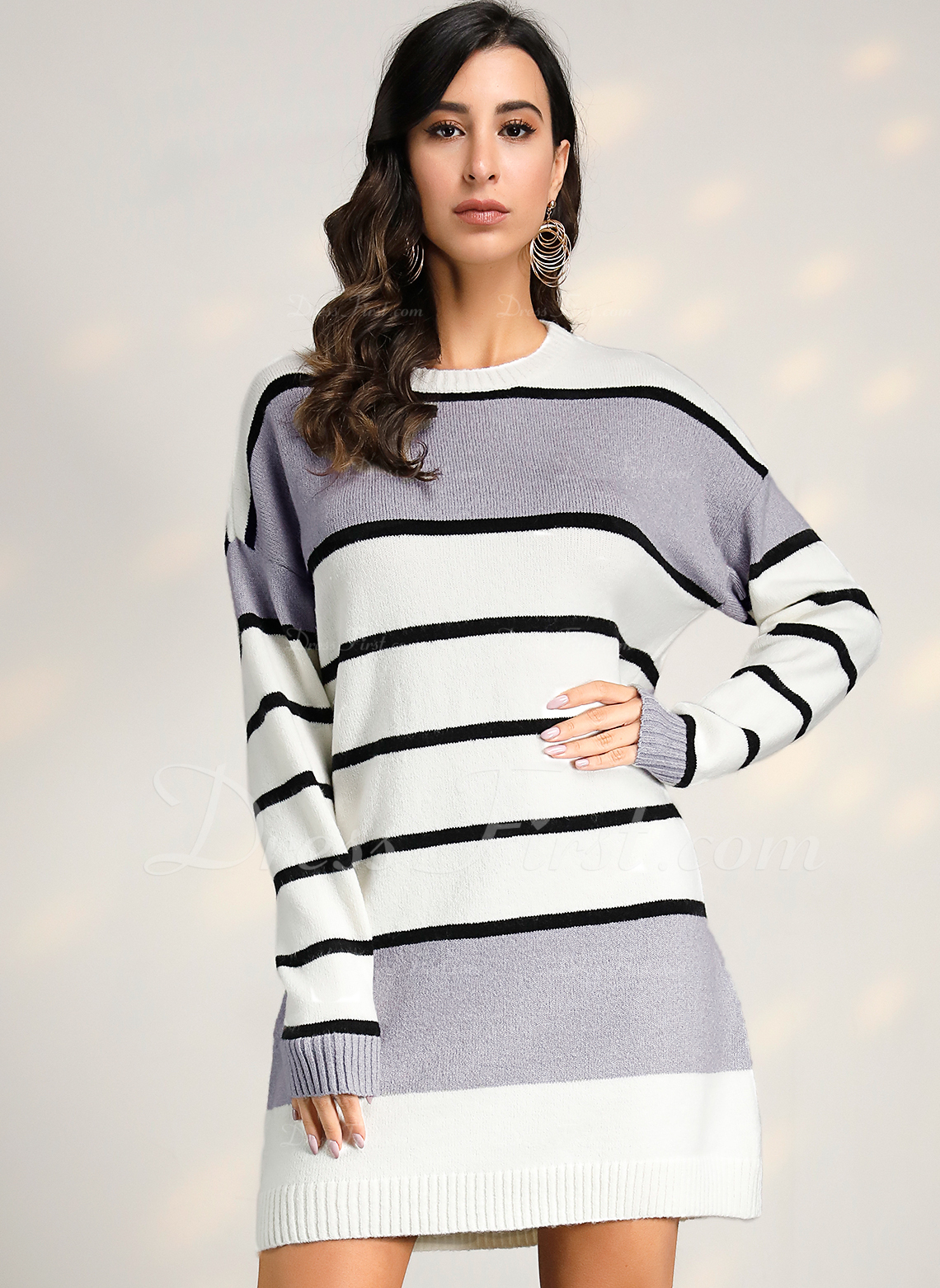 Round Neck Casual Long Color Block Striped Chunky knit Sweaters