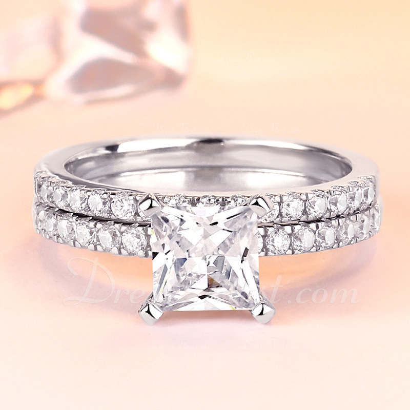 Sterling zilver Zirconia Halo Wijnoogst Princess Cut Belofte ringen Bruids sets