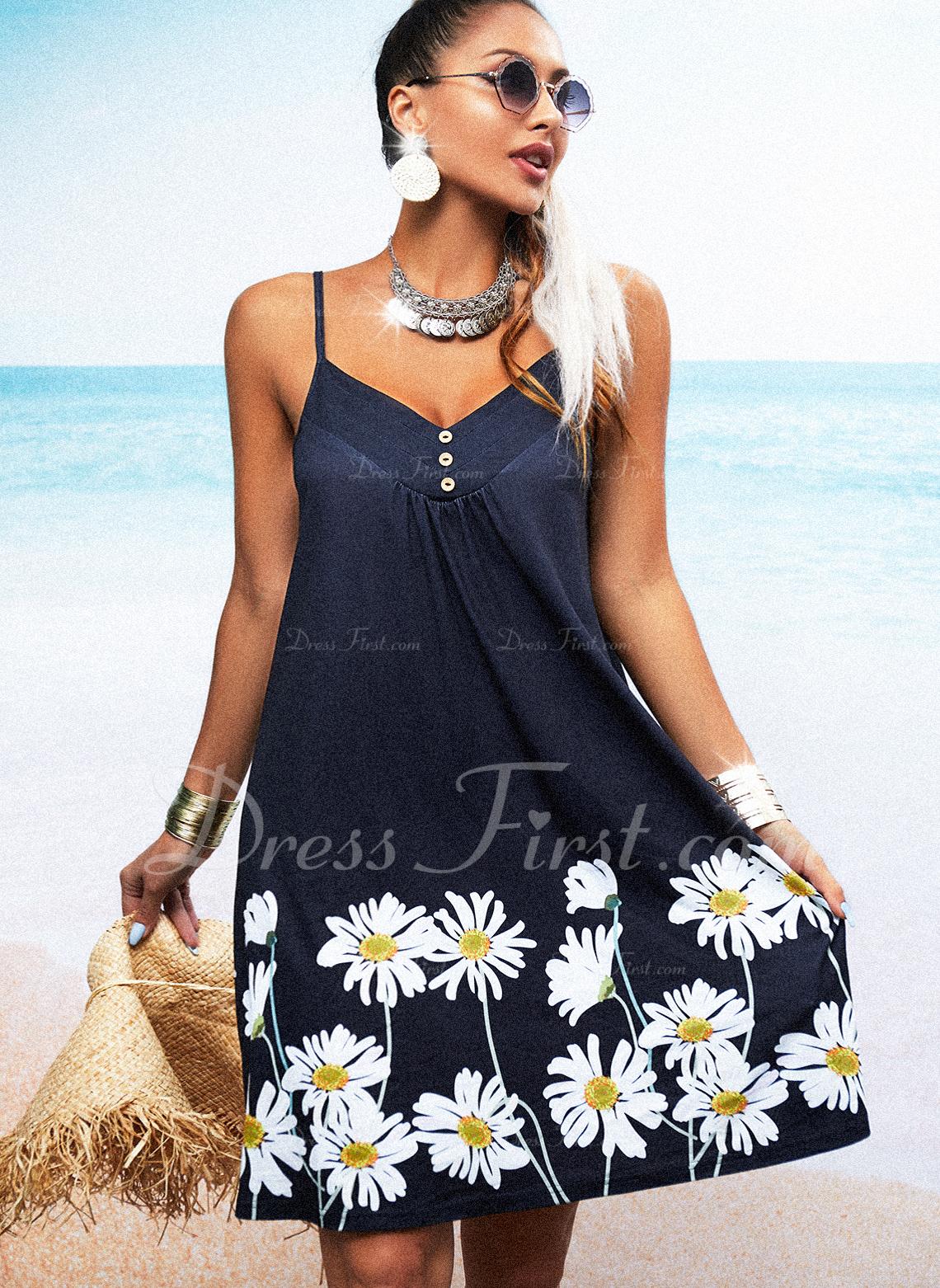 Floral Impresión Vestidos sueltos Sin mangas Mini Casual Tipo Vestidos de moda