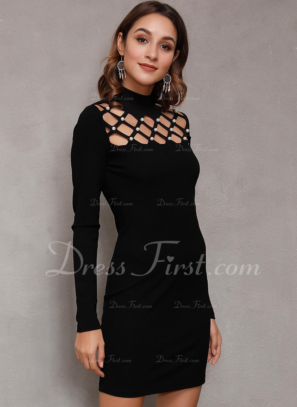 Solido A trapezio Maniche lunghe Mini Piccolo nero Casuale Vestiti di moda