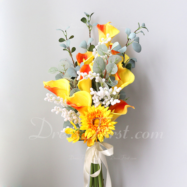 Refinado Forma libre Flores de seda Ramos de novia -