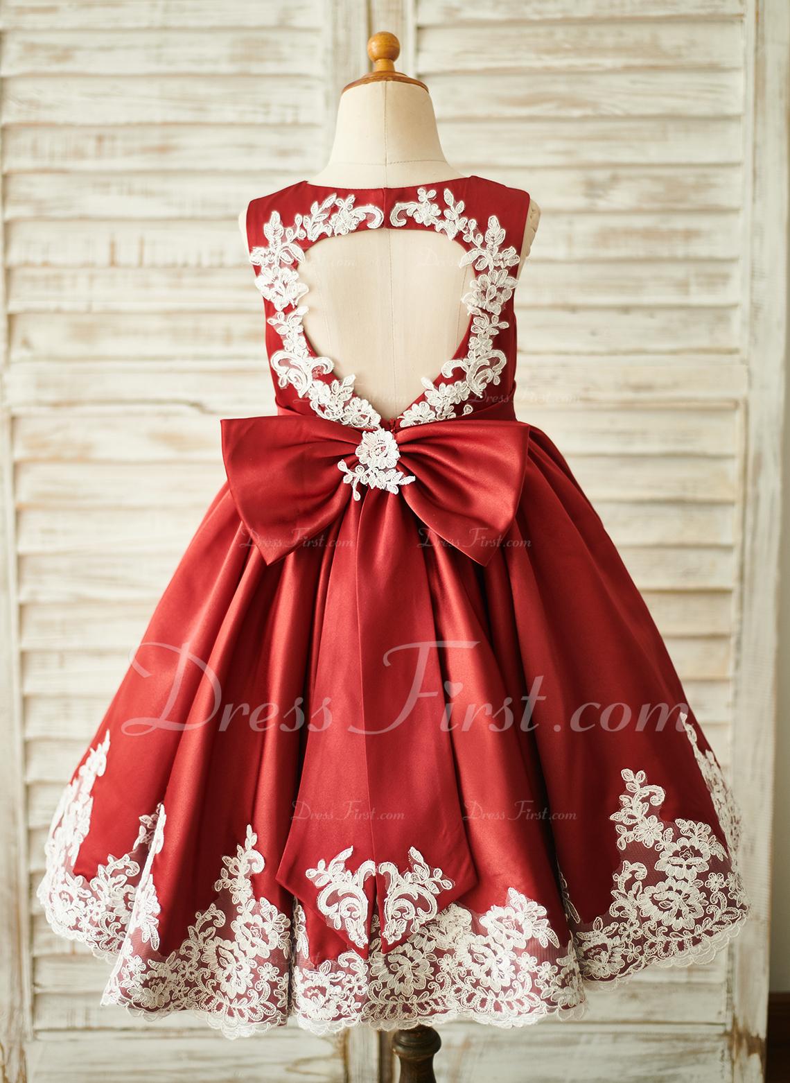 Aライン 膝上丈 フラワーガールのドレス - サテン/レース 袖なし スクープネック とともに バックホール