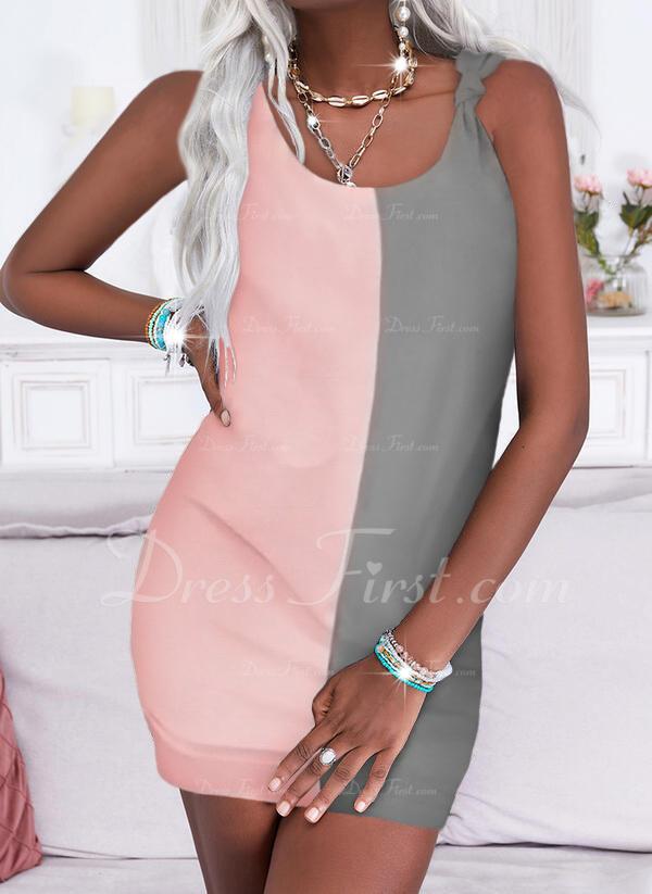 Trozos de color Vestidos sueltos Sin mangas Mini Casual Franelilla Vestidos de moda