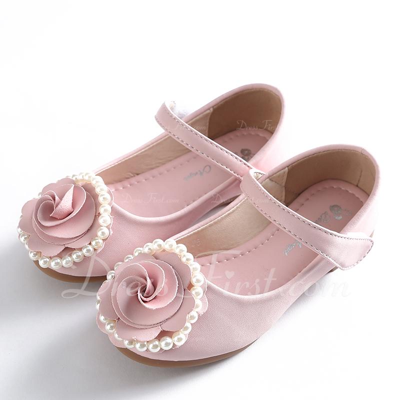 Fille de Bout fermé Mary Jane Cuir en microfibre Chaussures de fille de fleur avec Bowknot Velcro