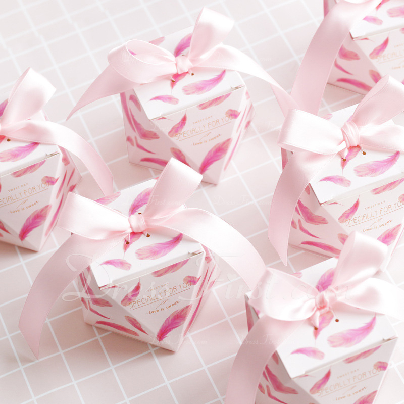 Creative/Lovely diamond shape Card Paper Favor Boxes & Containers With Ribbons (Set of 20)
