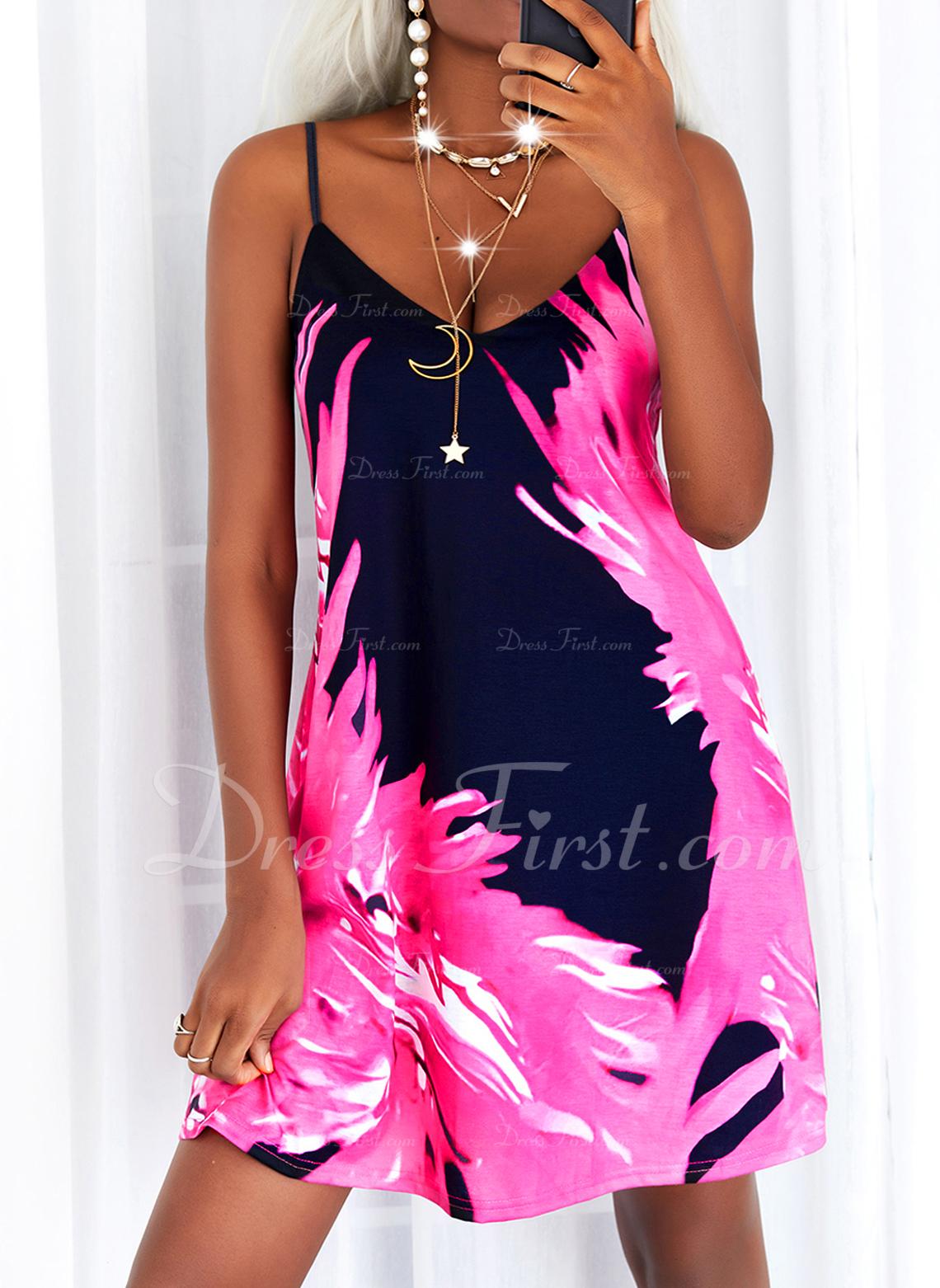 Impresión Vestidos sueltos Sin mangas Mini Casual Vacaciones Tipo Vestidos de moda
