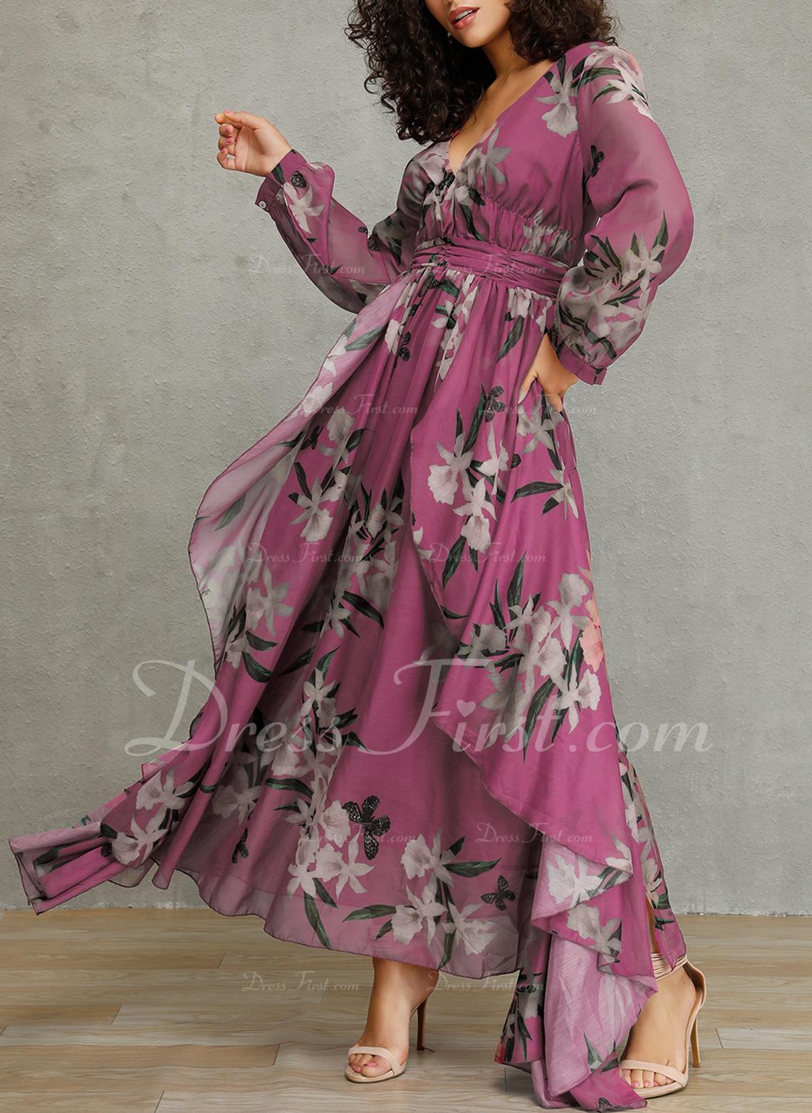 フローラル 印刷 Aラインワンピース 長袖 マキシ エレガント スケーター ファッションドレス