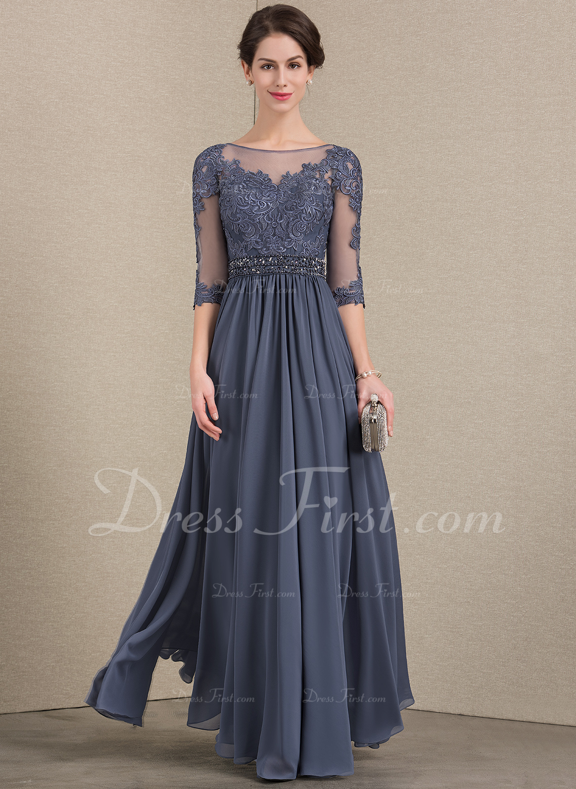 606f8e541bf A-Line Princess Scoop Neck Floor-Length Chiffon Lace Mother of the Bride  Dress With Beading Sequins  143370