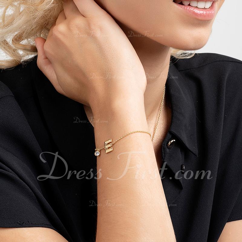 Regalos De La Dama De Honor - Personalizado Simple Delicado Cobre Cubic zirconia Iniciales Pulsera