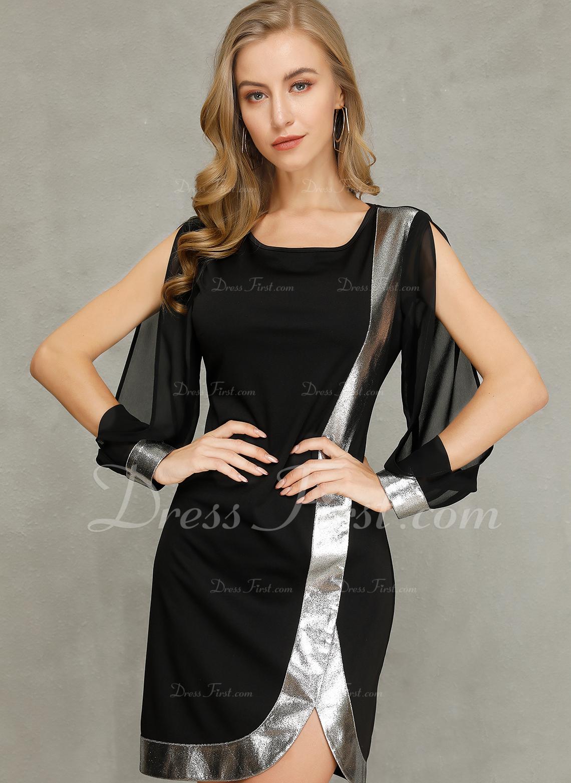 Blocchi di colore Aderente Maniche lunghe Manicotto Diviso Mini Partito Elegante Vestiti di moda