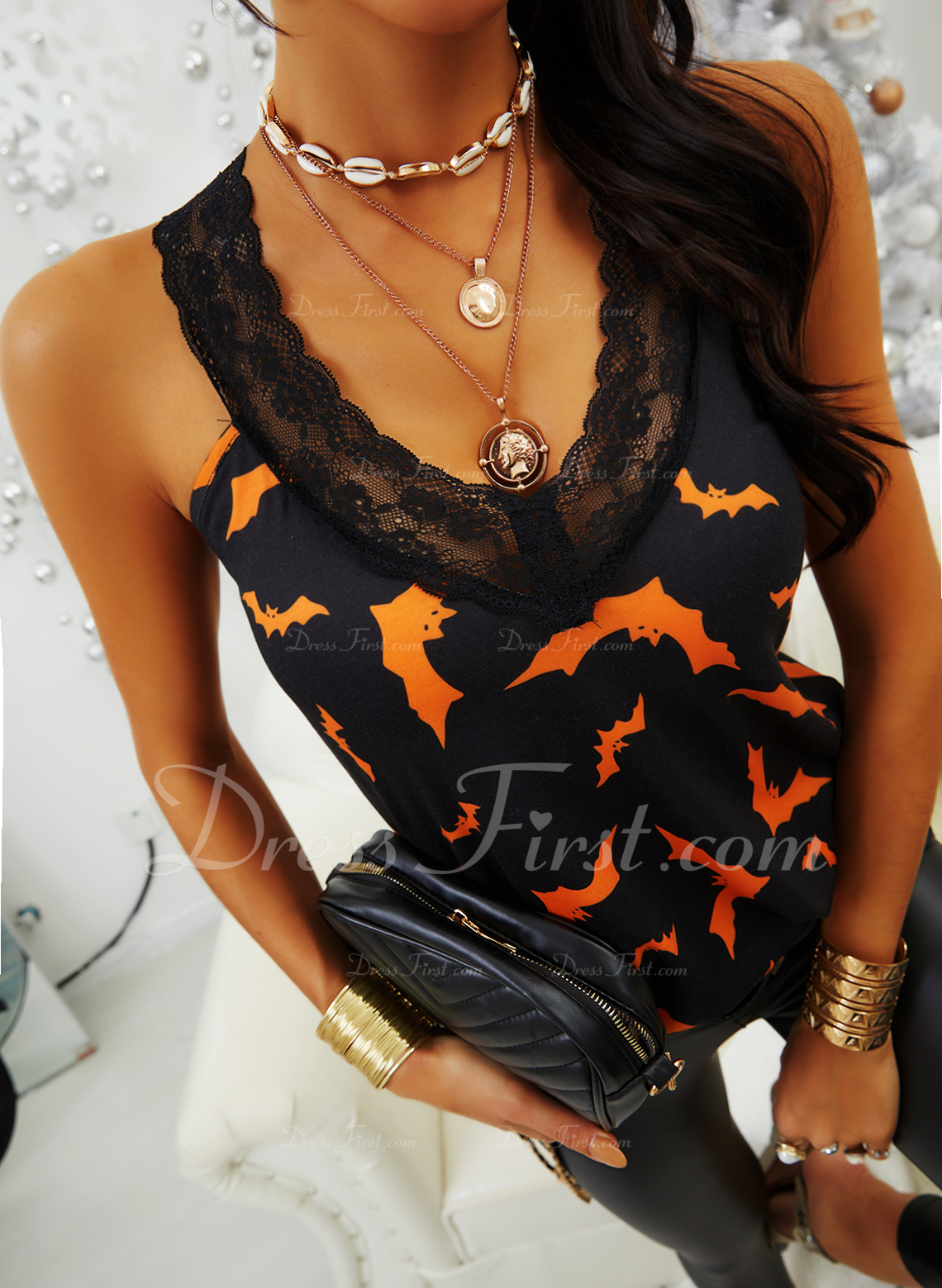 Animal Print Lace V-Neck Sleeveless Halloween Casual Tank Tops