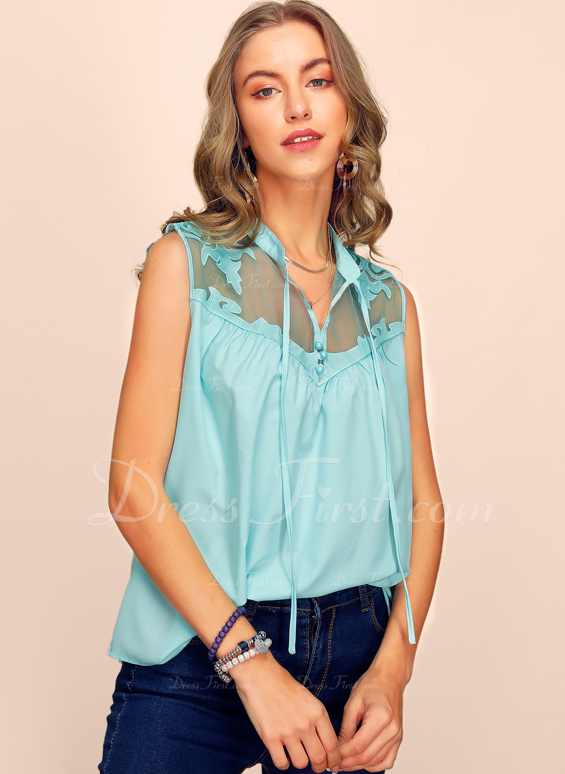 Sin mangas Algodón Escote en V Camisetas sin mangas Blusas