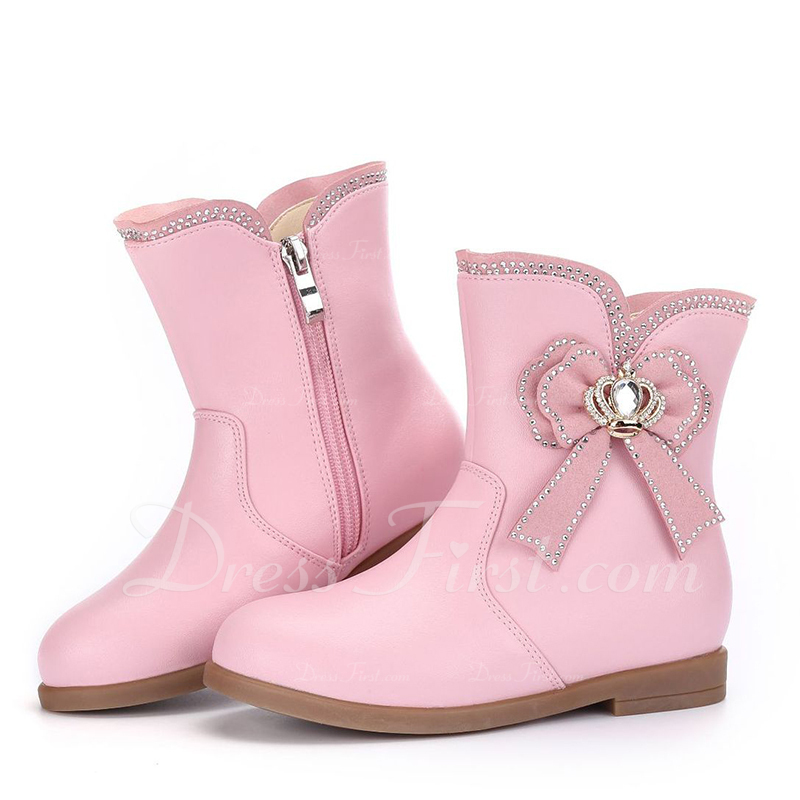 7baed50e72 [US$ 32.99] Girl's Round Toe Closed Toe Mid-Calf Boots Microfiber Leather  Low Heel Boots Flower Girl Shoes With Bowknot Zipper - JJsHouse