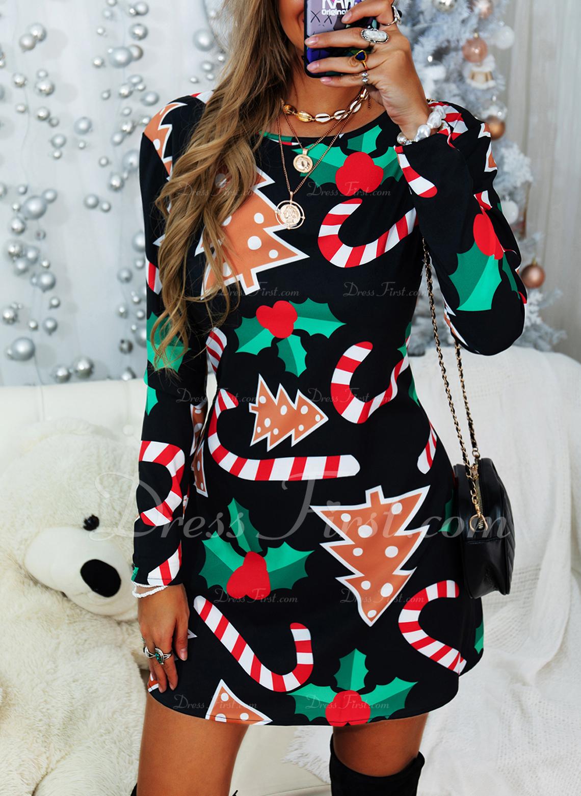 Imprimeu Shift Elbiseleri Mâneci Lungi Midi Noel Tunică Moda Elbiseler