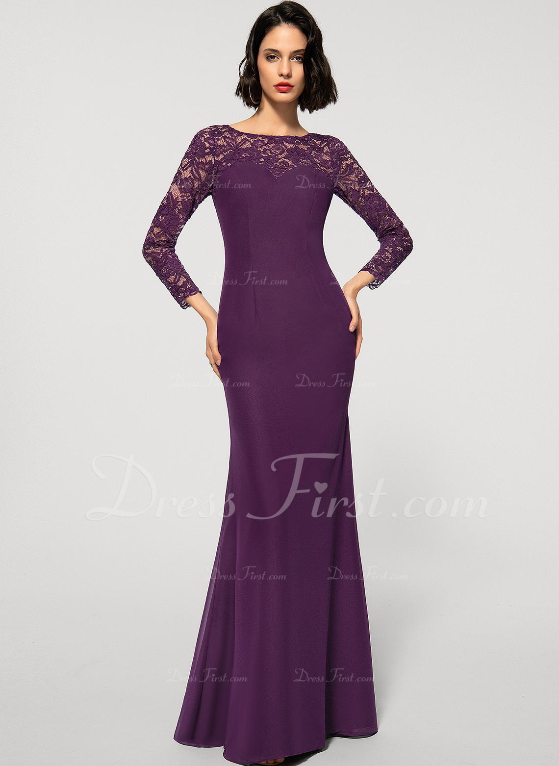 Trumpet/Mermaid Scoop Neck Floor-Length Chiffon Lace Evening Dress