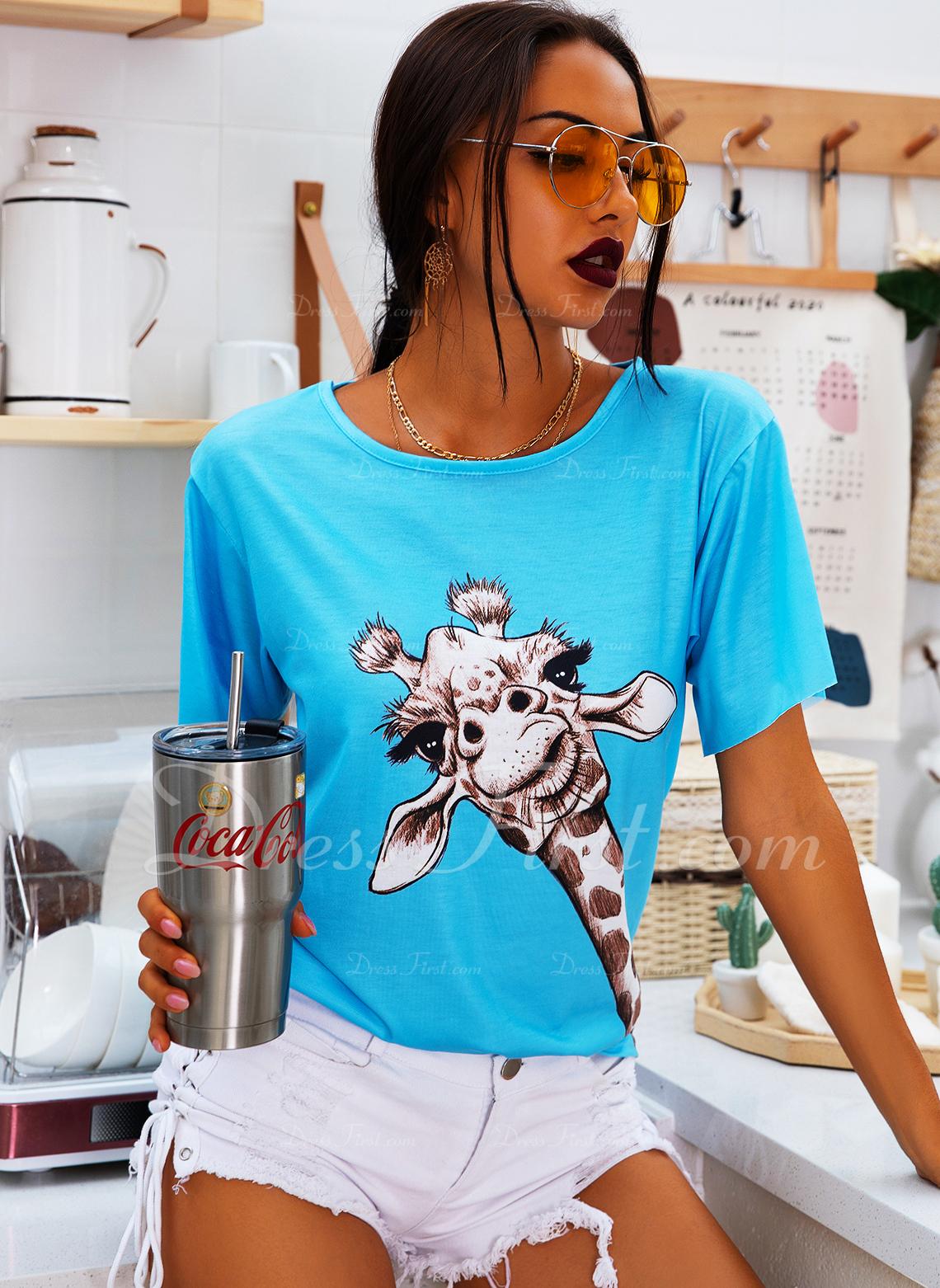 Animale Stampa Scollatura a V Maniche corte Casuale Reggiseno Tshirt