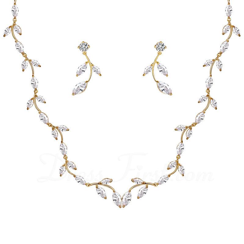 Señoras' Romántico cobre/Cubic zirconia Cubic zirconia Sistemas de la joyería Ella
