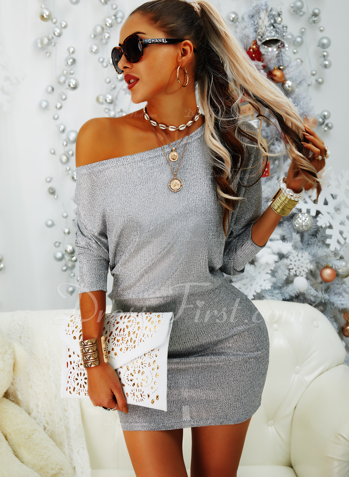pailletter Bodycon Lange ærmer Mini Party Elegant Mode kjoler