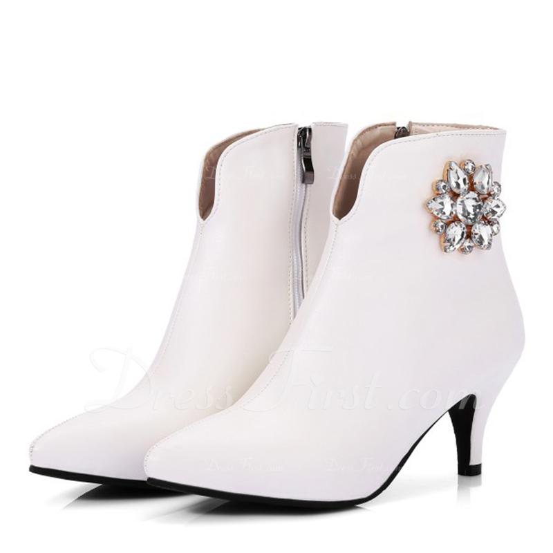 女性用 レザーレット ローヒール ブーツ クローズド足 とともに クリスタル