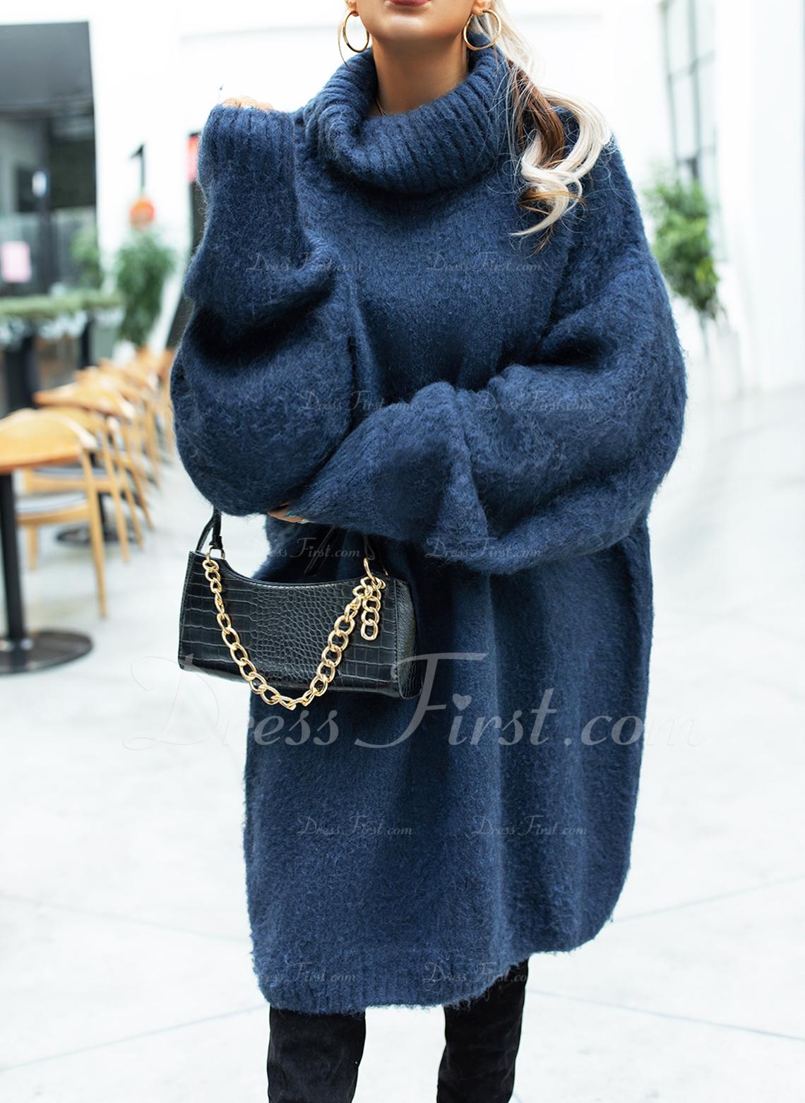 Rollkragen Lässige Kleidung Lange Einfarbig Zopfmuster Grobstrick Pullover