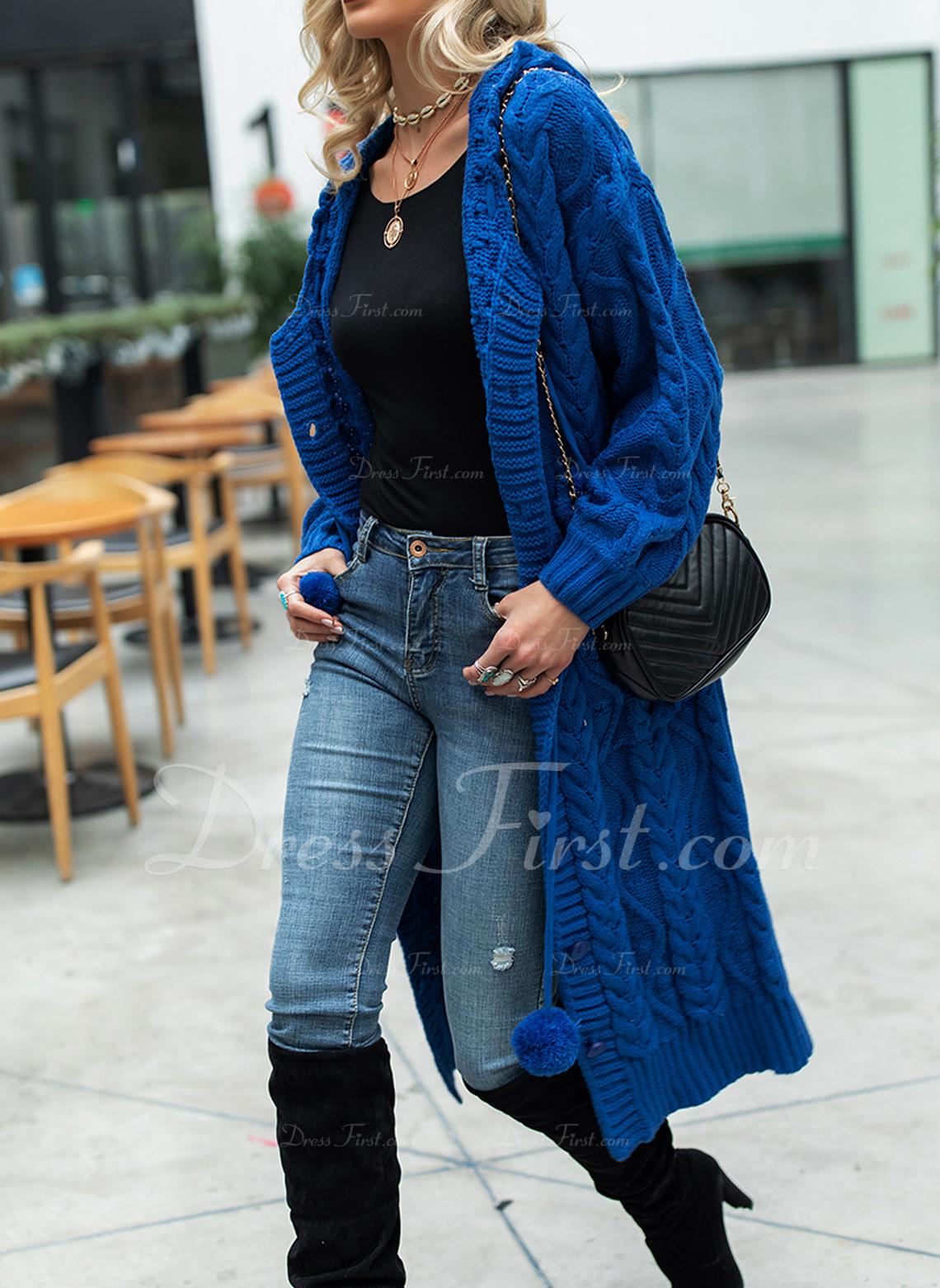 Mit Kapuze Lässige Kleidung Lange Einfarbig Zopfmuster Grobstrick Taschen Pullover