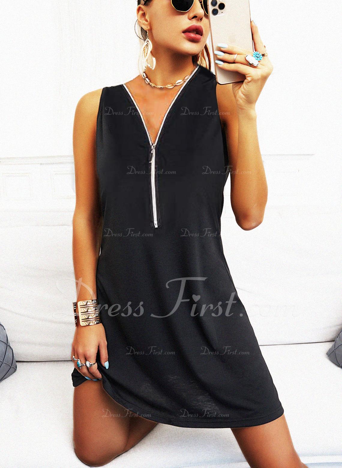 Einfarbig Etuikleider Ärmellos Mini Kleine Schwarze Lässige Kleidung Modekleider