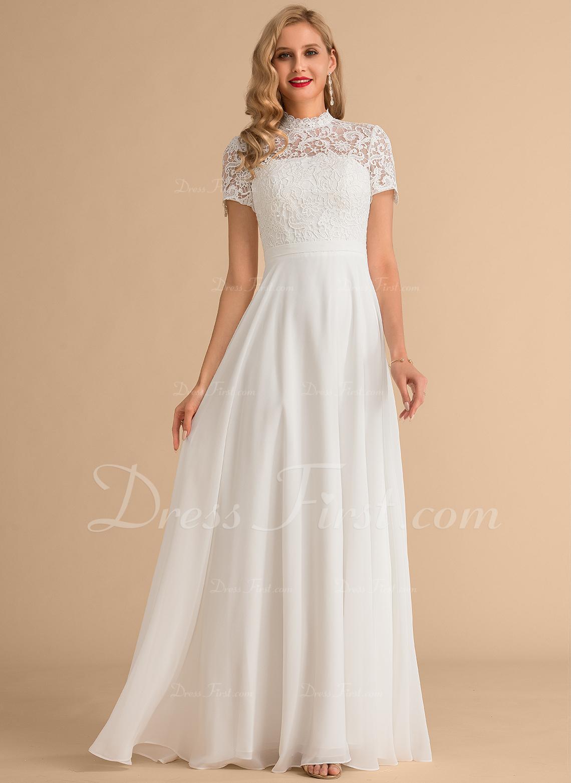A-Line High Neck Floor-Length Chiffon Lace Wedding Dress