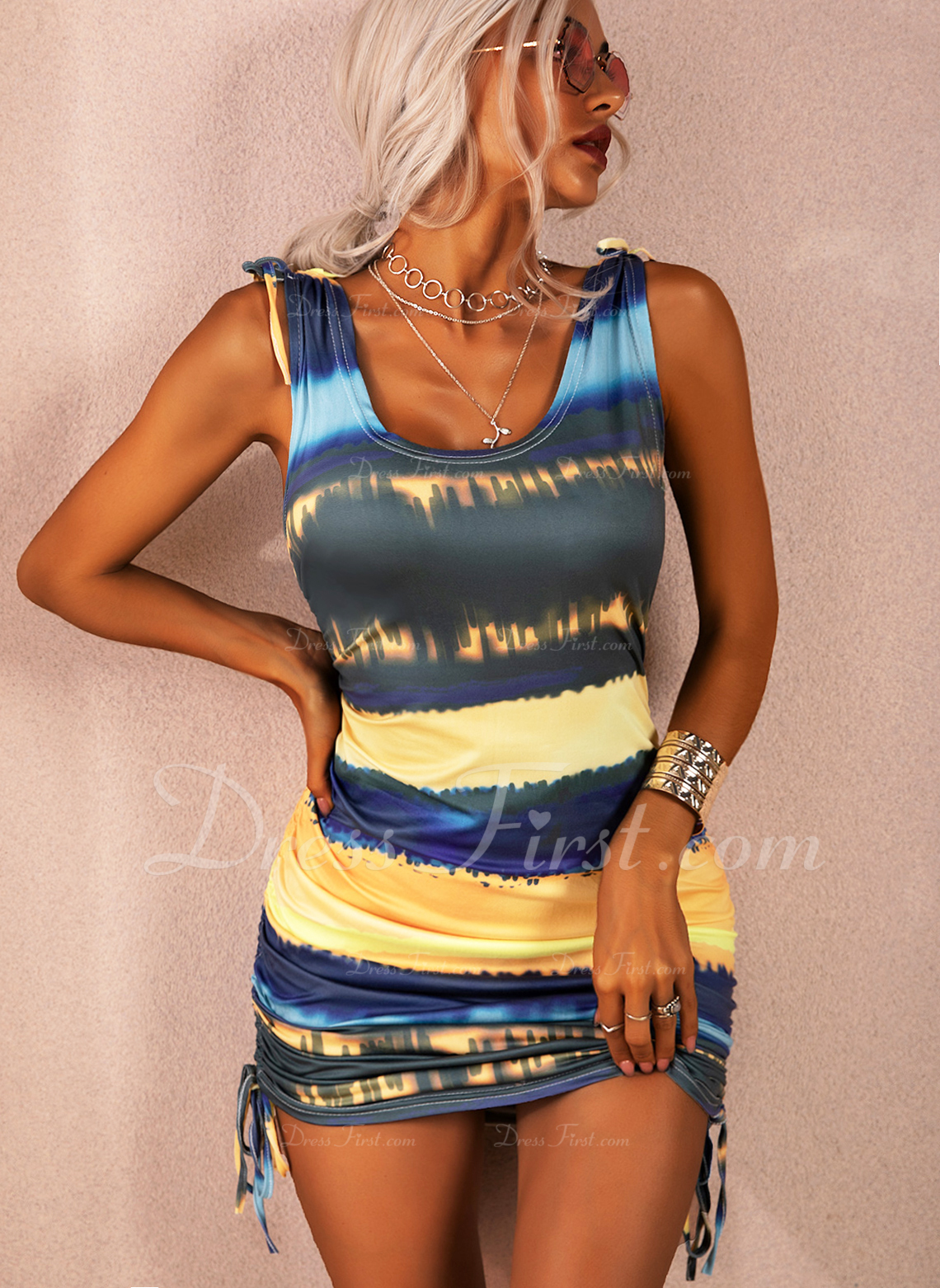 Tie Dye Bodycon Sleeveless Mini Casual Vacation Tank Dresses