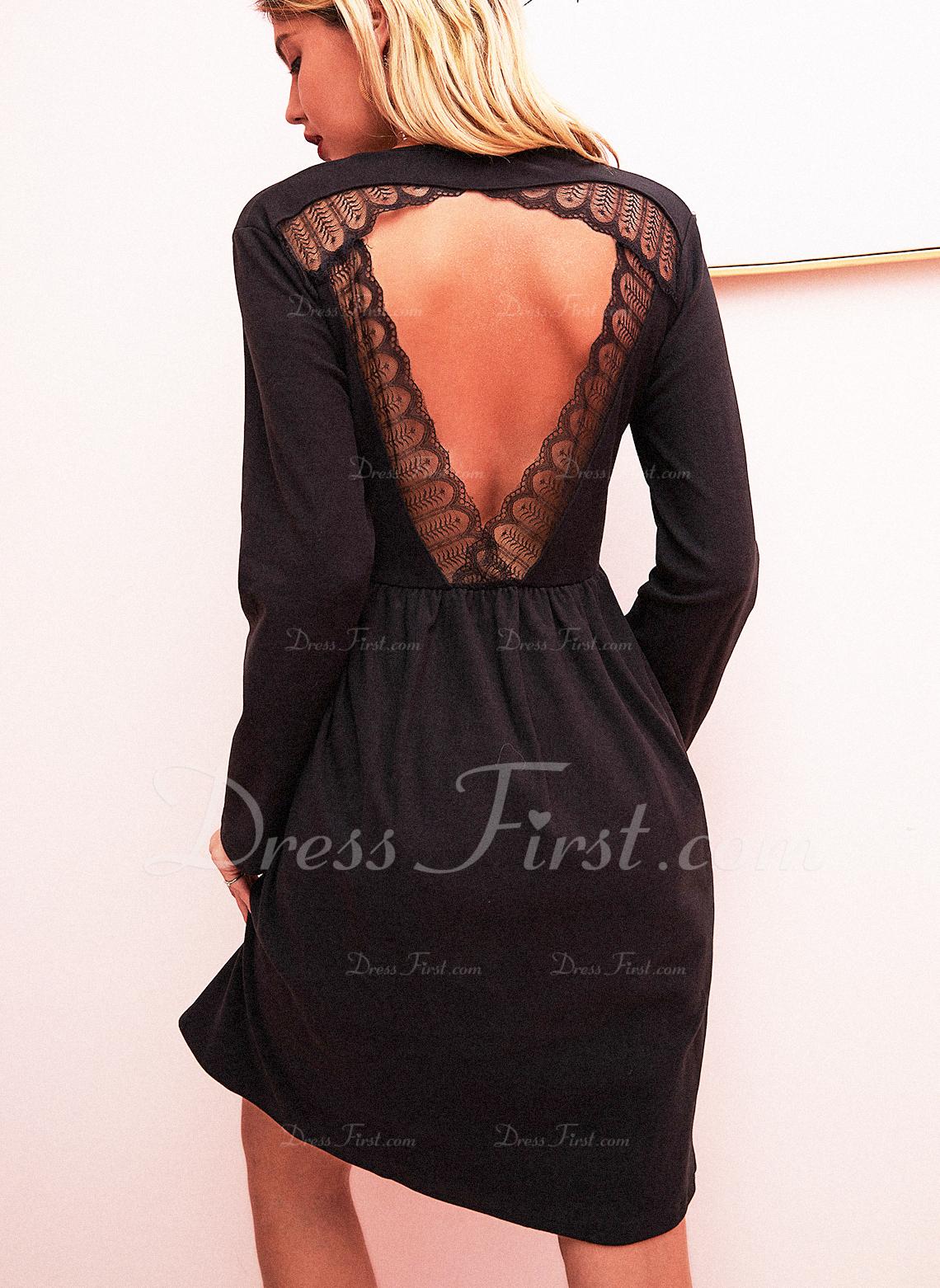 レース 固体 シフトドレス 長袖 ミニ リトルブラックドレス カジュアル チュニック ファッションドレス