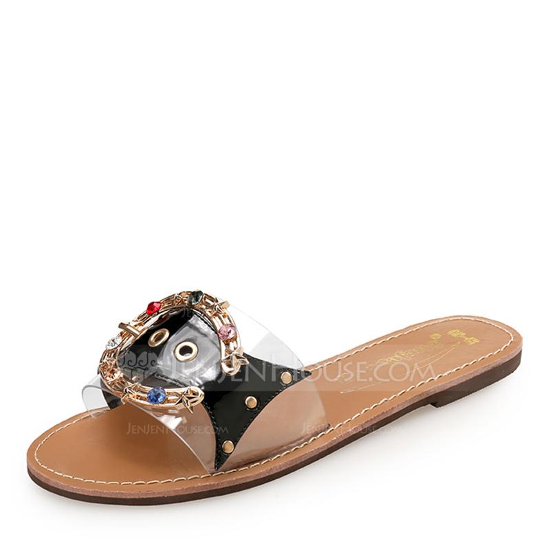 Kvinner PU Flat Hæl Flate sko Titte Tå Slingbacks Tøfler med