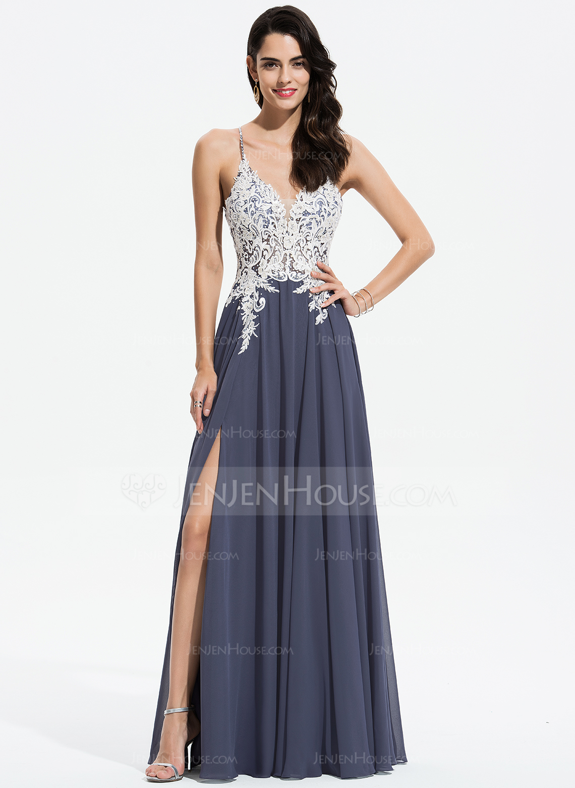 5a7b0ec9c5f A-Line V-neck Floor-Length Chiffon Prom Dresses With Lace Beading Sequins  Split Front  175905