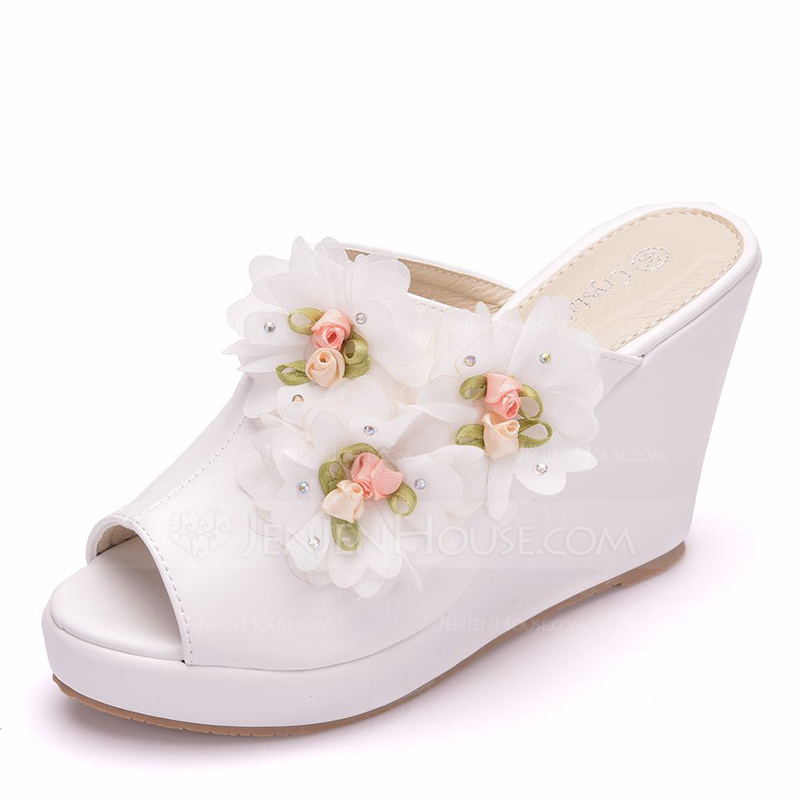 90c031657f6 Women's Leatherette Wedge Heel Peep Toe Sandals Wedges With Flower ...