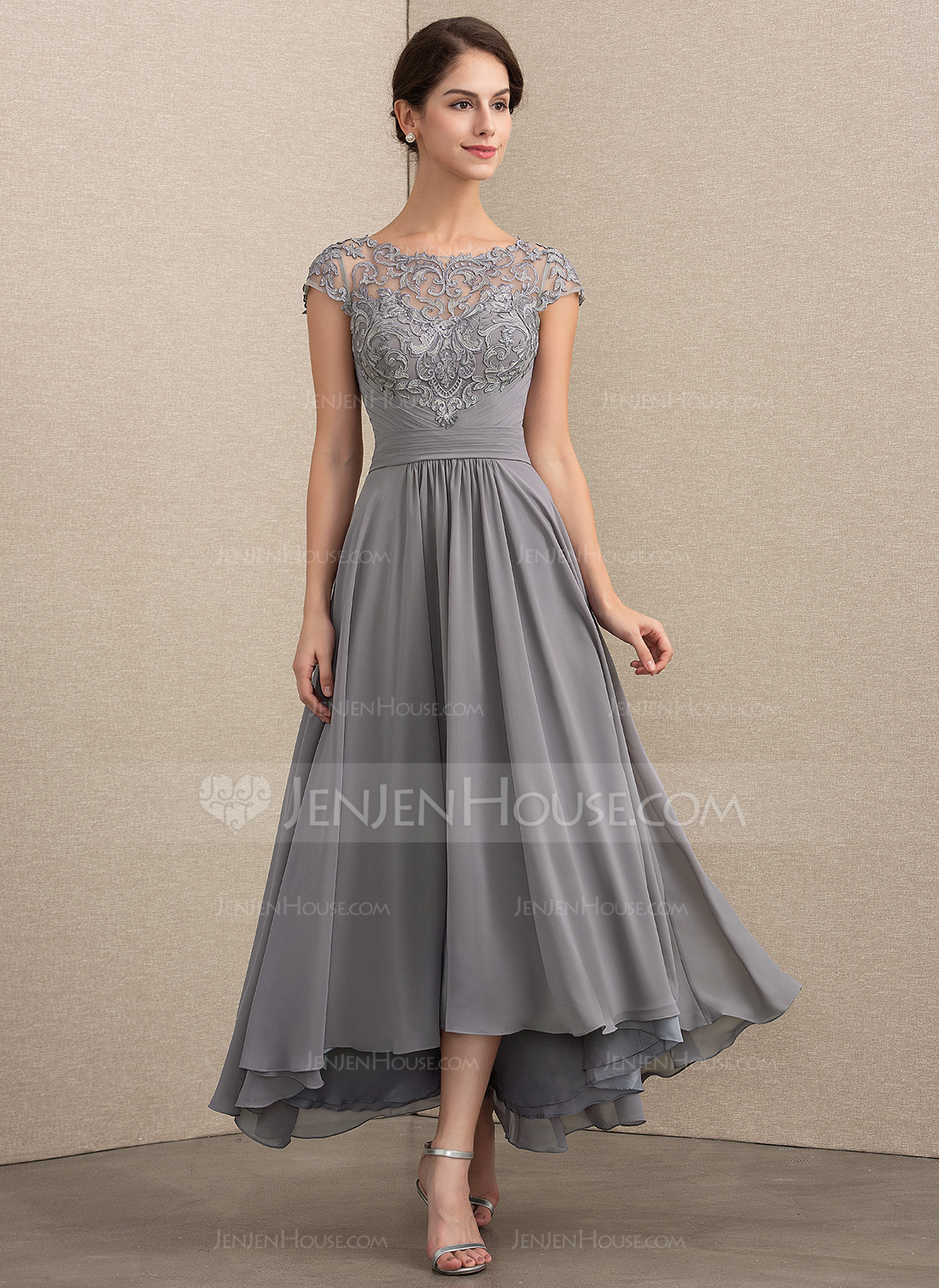 ae73b1057f A Line Princess Sleeveless V Neck Asymmetrical Lace Bridesmaid Dresses