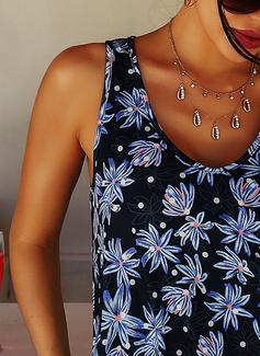 フローラル 印刷 シフトドレス ノースリーブ ミニ 生きます カジュアル 休暇 タンク ファッションドレス