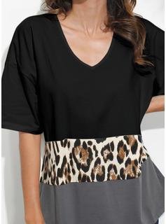 leopardo Blocchi di colore Scollatura a V 1/2 maniche Casuale Camicie