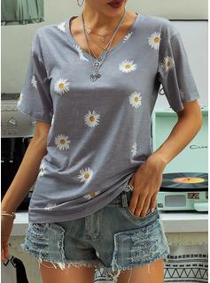 Blomster Print V-hals Korte ærmer Casual T-shirt
