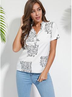 Wydrukować Krótkie Rękawy Poliester Litera V Koszula Bluzki Bluzki