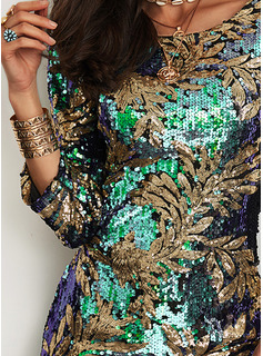 Floreale Paillettes A trapezio 3/4 maniche Mini Partito Elegante Vestiti di moda