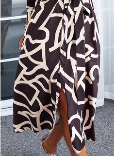 印刷 Aラインワンピース 3/4袖 ミディ カジュアル シャツワンピース スケーター ファッションドレス