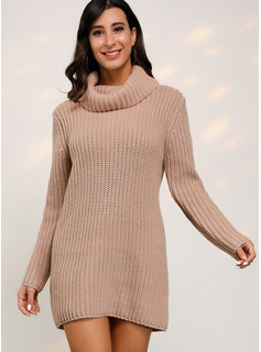 Cowl Neck Casual Long Solid Chunky knit Ribbed Sweaters