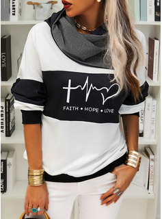Color Block Print Figure Long Sleeves Hoodie