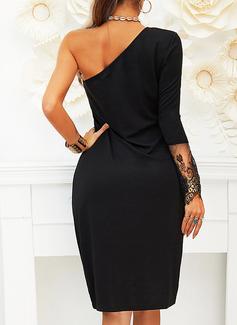 Skede Lange ærmer Midi Den lille sorte Mode kjoler