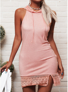 Lace Solid Bodycon Sleeveless Mini Casual Dresses