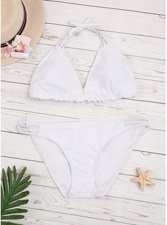 Bikinis Chinlon Jednolity kolor Niski stan Dla kobiet tak Stroje kąpielowe