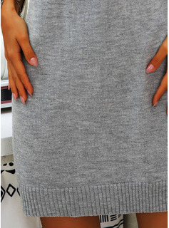 Off the Shoulder Casual Long Solid Chunky knit Sweaters