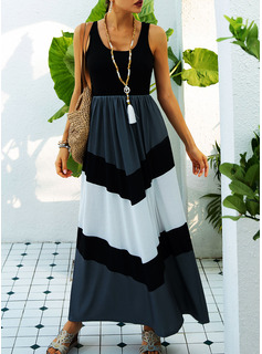 Color Block A-line Sleeveless Maxi Casual Skater Dresses